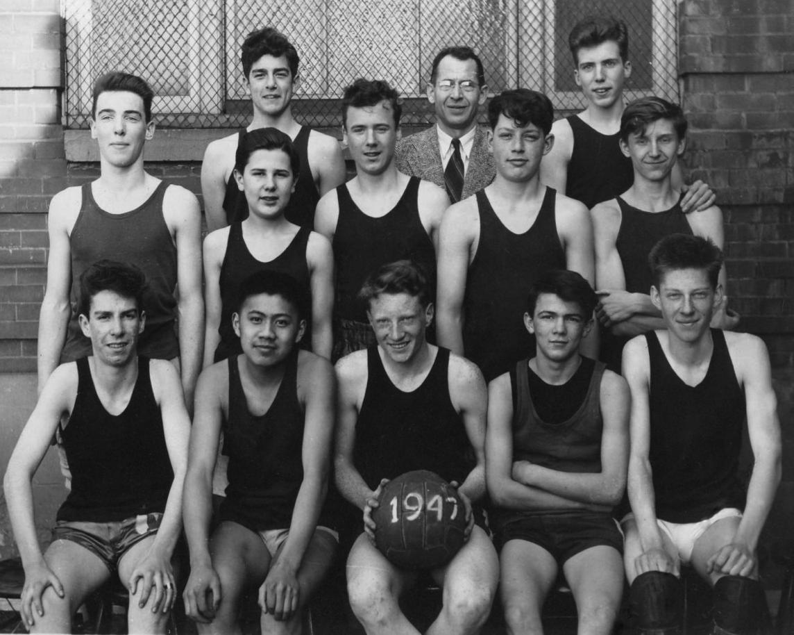 Junior Boys Basketball Team – Lou Rosse, back row, at left (1947.)