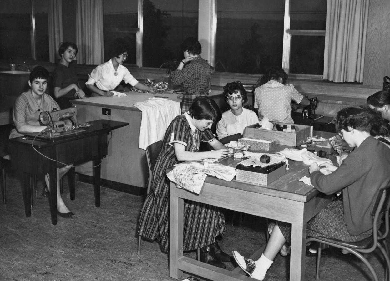Home Economics (textiles) class (1960.)