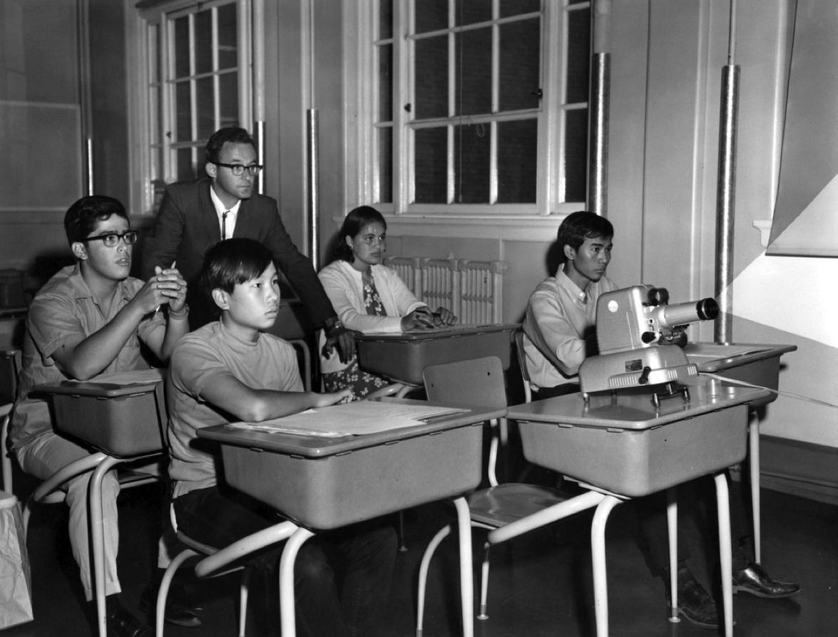 Filmstrip Projector in night school classroom (1969.)